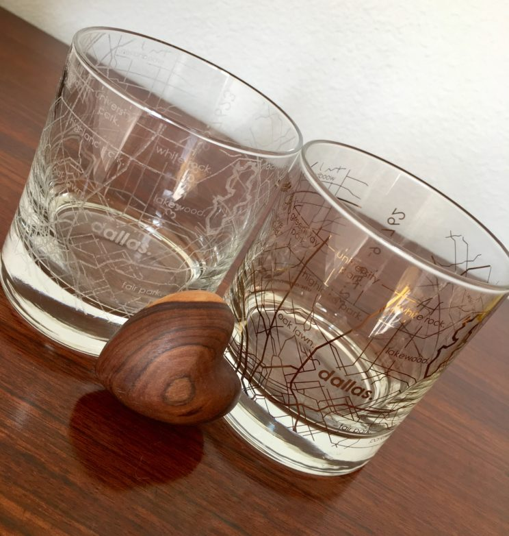 white and gold-etched city glassware from The Uncommon Green