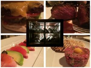 Center: the meat locker at Knife Top L: The Magic burger Top R: steak au Poivre Bottom L: yellowtail Bottom R: steak tartare
