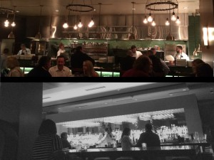 Top: the open kitchen at Knife Below: the bar at Knife