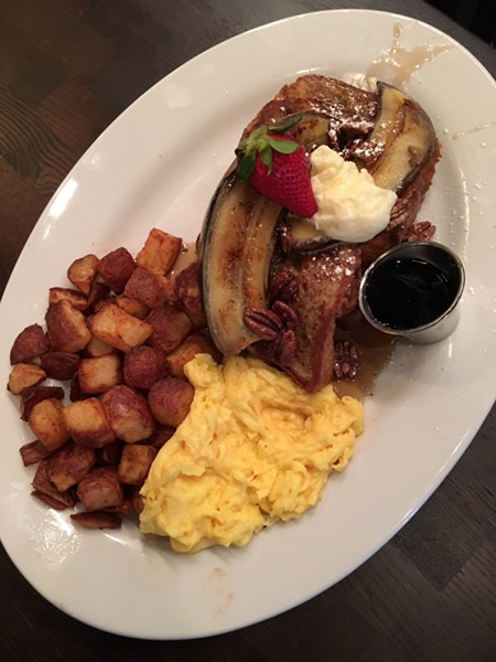 """This is more of a """"basic bitch"""" breakfast... french toast, potatoes and eggs"""