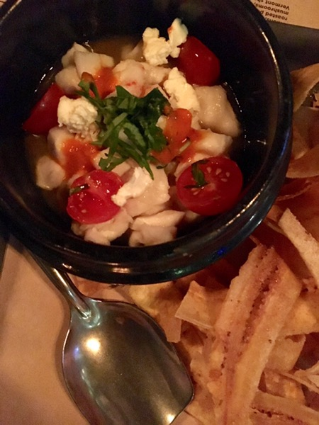 Ceviche, with a surprising goat cheese addition, was well-balanced and tasty