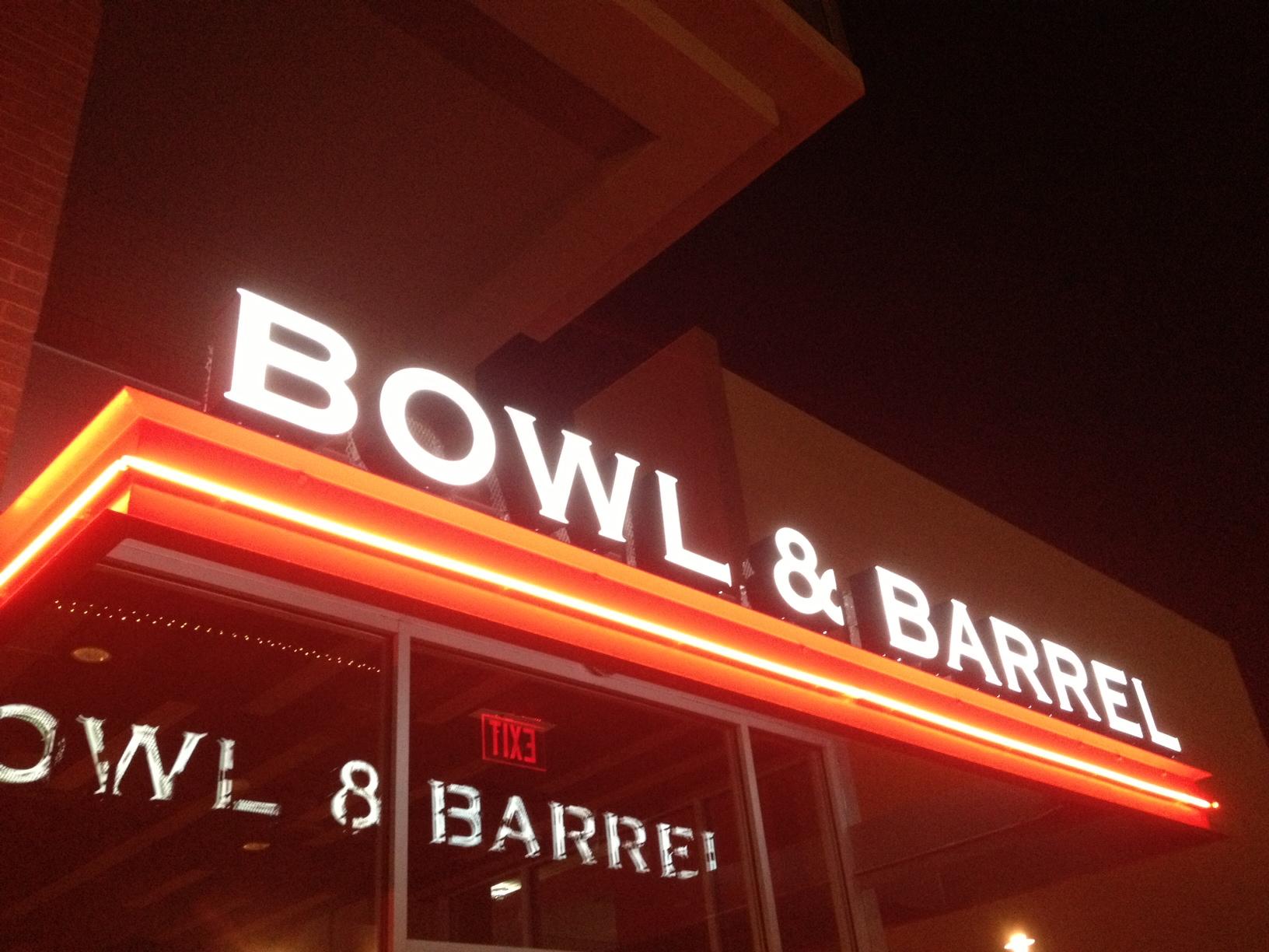 Bowl & Barrel signage