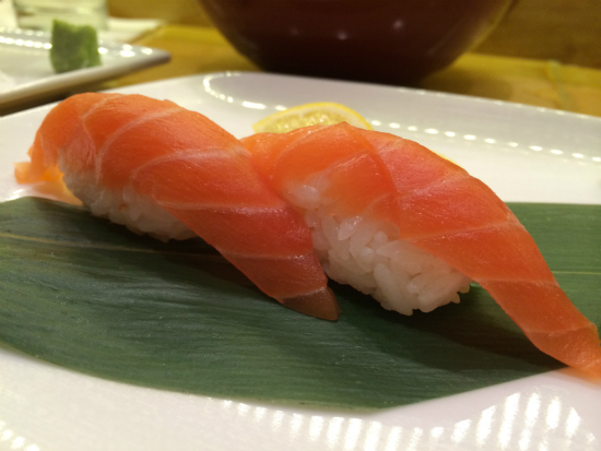 salmon nigiri at Sushi Bayashi at Trinity Groves