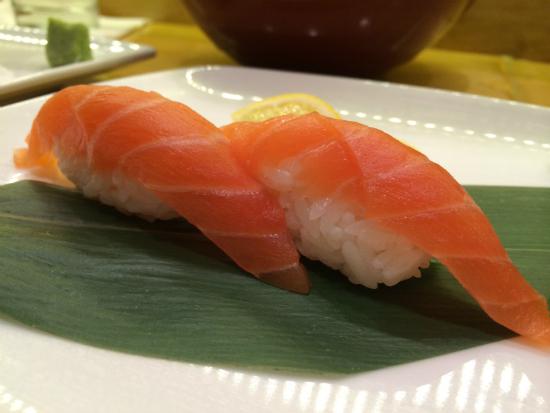 salmon nigiri at Sushi Bayashi at Trinity Groves