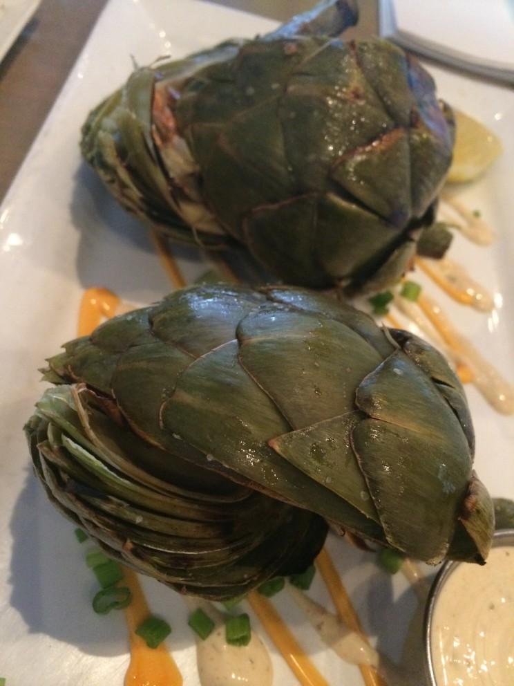 Grilled artichokes with wasabi aioli at Dive Coastal Cuisine