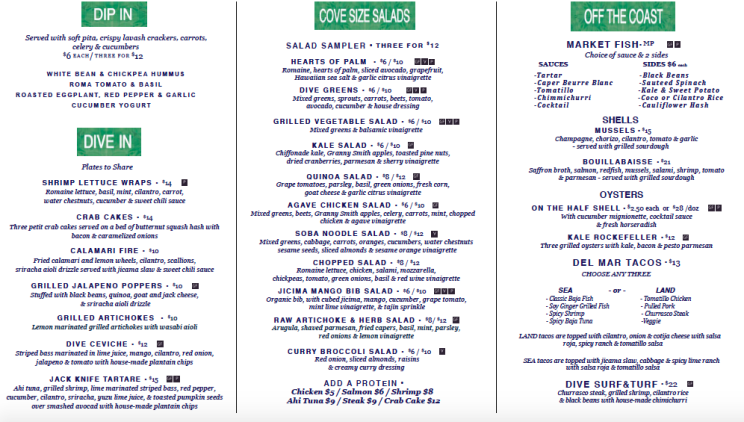 Summer menu at Dive Coastal Cuisine in Dallas TX