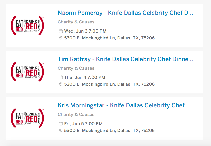 Eventbrite listings for (RED) dinners