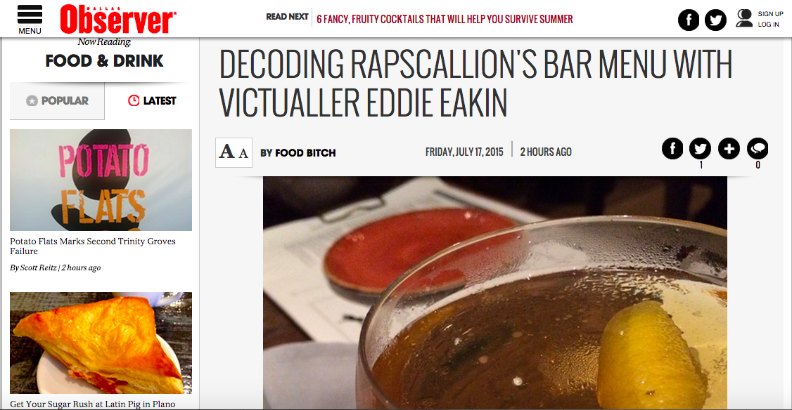 Decoding Rapscallion's Bar Menu with Victualler Eddie Eakin