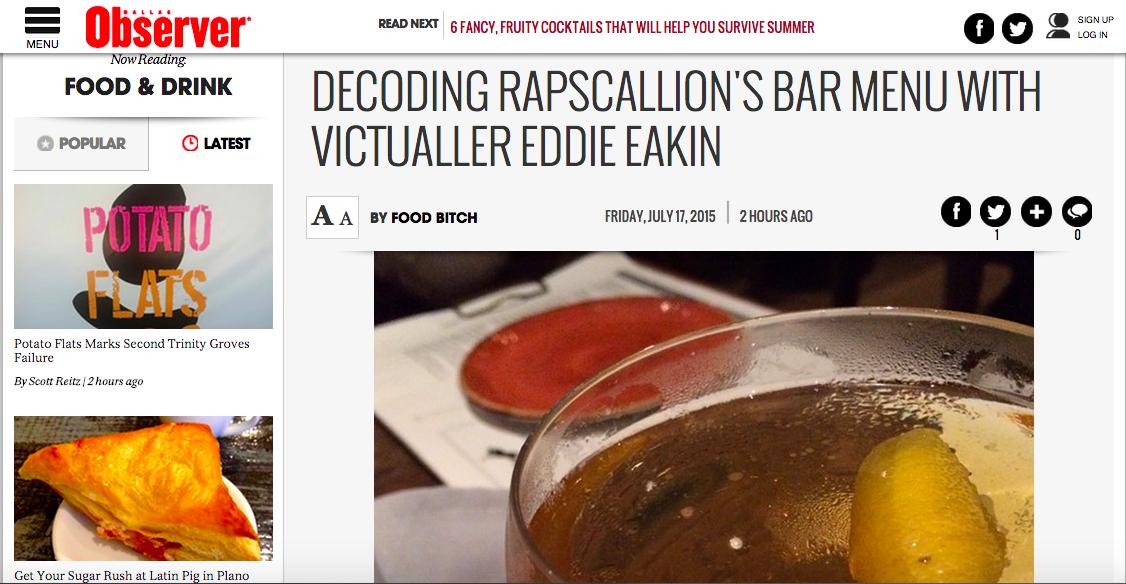 Decoding Rapscallion's Bar Menu with Victualler Eddie Eakin