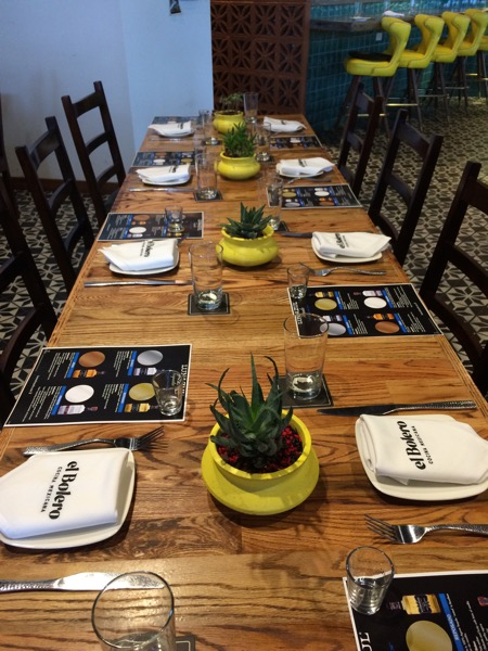 One of the tables set up for last night's tequila dinner