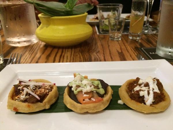 Trio of sopes at el Bolero, photo by foodbitch