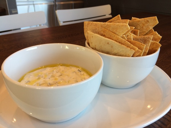 Cucumber dill dip with pita chips