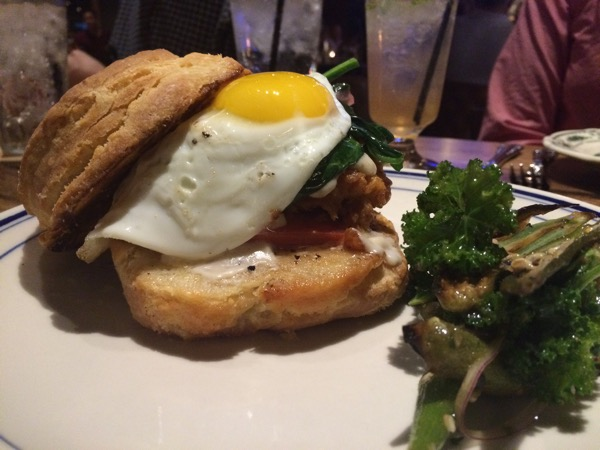 Fried chicken on a biscuit and put an egg on it