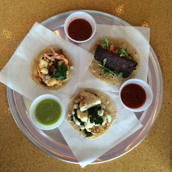 Chorizo, beef short rib and cauliflower tacos with salsas
