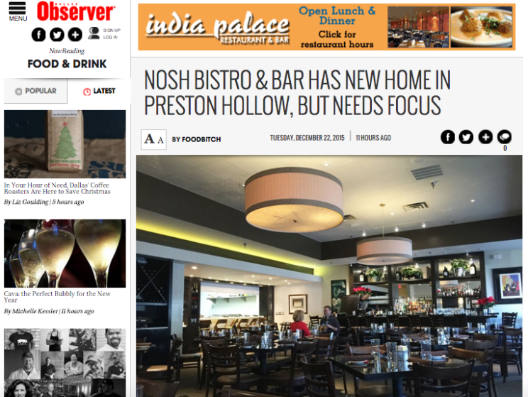 Foodbitch reviews Nosh Bistro and Bar for the Dallas Observer Food and Drink blog