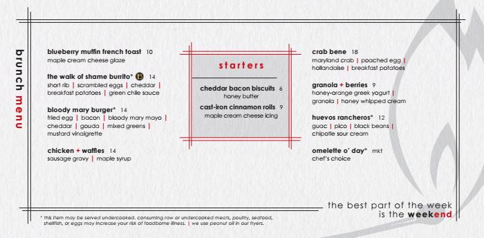 brunch menu pictured -- matchbox brunch starts this weekend