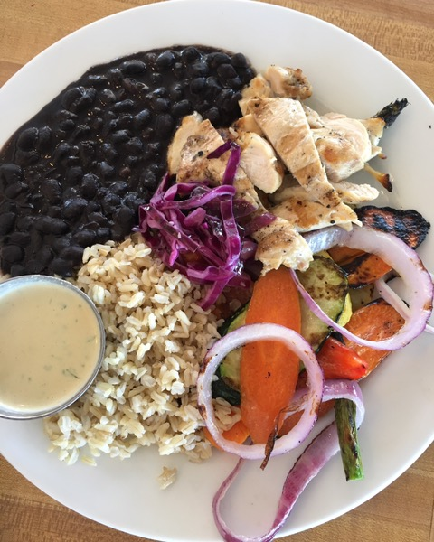 My old Routh Street standard: The Square Meal featuring black beans, brown rice, grilled veggies and chicken with a miso tahini sauce. Photo by foodbitch.